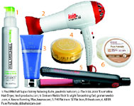 1. Paul Mitchell Super Skinny Relaxing Balm, paulmitchell.com; 2. iTech Isis 2000 Tourmaline Hair Dryer, itechproducts.com; 3. Graham Webb Stick Straight Smoothing Gel, grahamwebb.com; 4. Keune Forming Wax, keune.com; 5. FHI Platinum SE Flat Iron, fhiheat.com; 6. ABBA Pure Pomade, abbahaircare.com