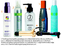 1. PureOlogy Glossing Mist, pureology.com; 2. Barex Italiana Gloss Mousse, oloffbeauty.com; 3. J Beverly Hills Shine Drops Light Gloss Serum, jbeverlyhills.com; 4. Hot Tools Professional Spring Curling Iron Model 1102, hottools.com; 5. Fudge Oomf Booster, fudge.com; 6. K.I.S. Thermal Protecting Hairspray, kishaircare.com