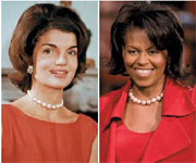 Jackie Kennedy and Michelle Obama sport similar hairstyles.