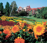 A composting program provides fertilizer for the extensive flower gardens on the property.