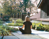 Meditating on the green roof-garden terrace