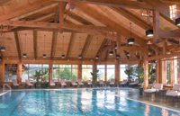The indoor pool is also surrounded by windows that virtually bring the outdoors in.