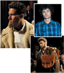 Clockwise, from Above: Crew models sported beards in the Jeremiah segment that paid tribute to gritty and rugged Western frontiersmen; the New Folk segment featured Dylan-inspired  'dos; another look from the Jeremiah segment.