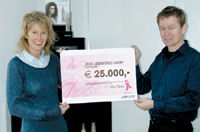 Eric Kater, general manager of Joico Laboratories Europe with Stan de Klerk, director of the Dutch Pink Ribbon Foundation
