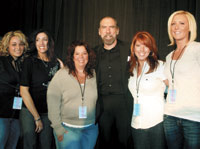 FROM LEFT: Ashley Lokash, Gina Cannell, Fran Ruberto, John Paul DeJoria, Melenie Kush and Jennifer Ulp of The Lanai Salon in Warren, OH