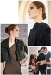 Clockwise, from top: The Zulu knot complemented the knotted texture of Obando's clothing; Salon Ciseaux stylist Christopher Maldonado helps  Juan Carlos Obando fulfill his superhero-meets-socialite vision; the Salon Ciseaux stylists created a sleek chignon.
