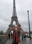Jan Arnold at the Eiffel Tower in Jean Paul Gaultier