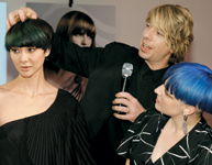 Canadian stylist Anthony Crosfield and colorist Wendy Van Weert with their model.