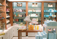 The retail area at the adam Broderick Salon and Day Spa in Connecticut