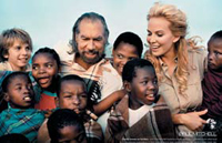 The new spread features John Anthony, John Paul and Eloise with some of the children who benefit from Food4Africa's aid