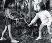 4. Toni and Guy engage in a bit of swordplay.