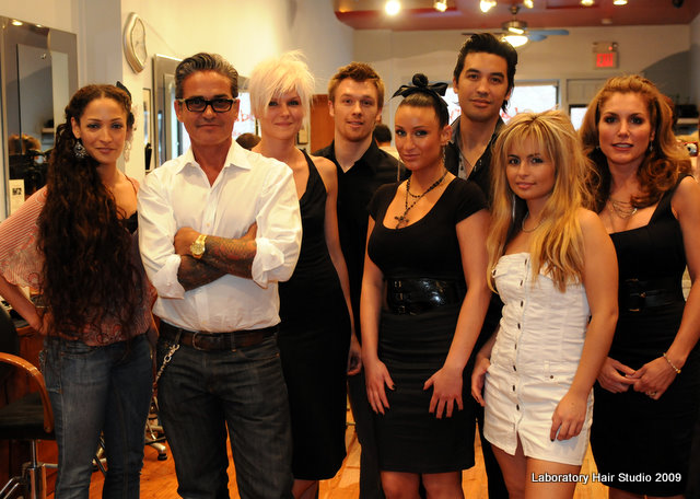 Oribe with the models he styled for the event