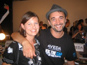 That's me with Aveda key stylist Eugene Souleiman backstage.