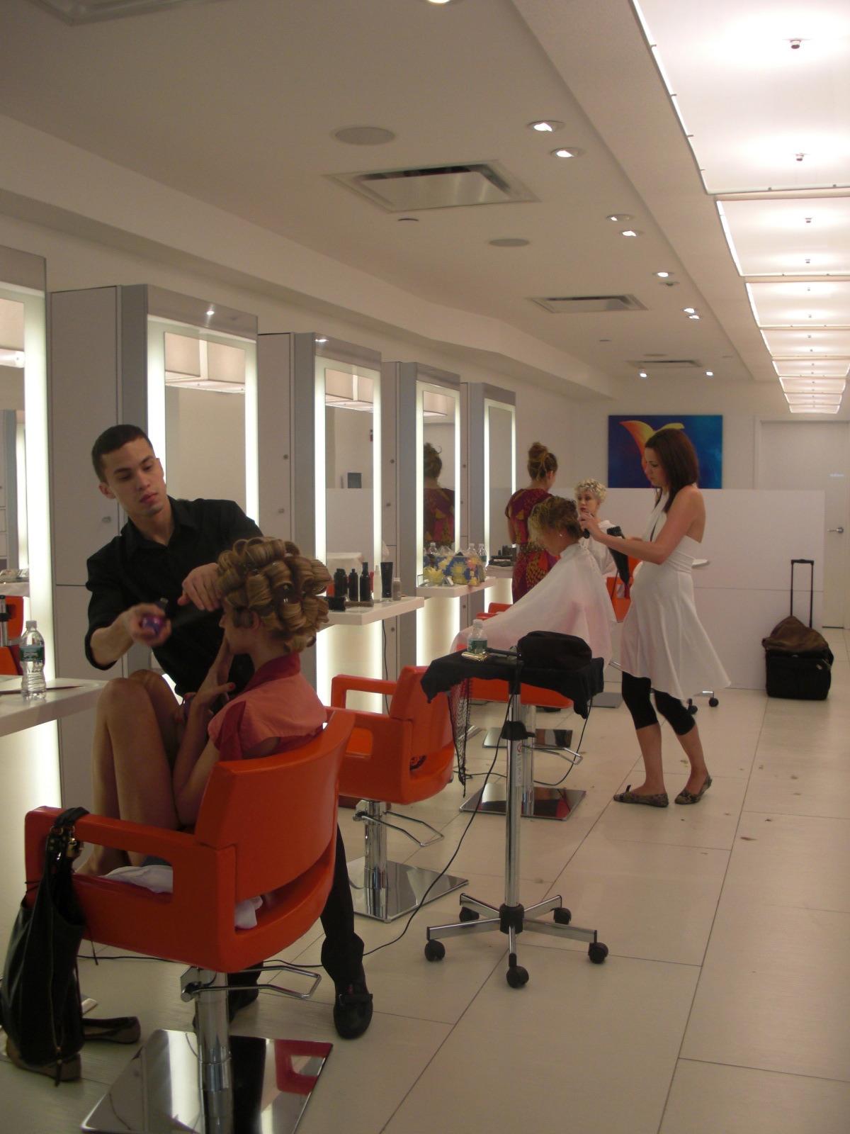 Stylists prep the models at Mizu Salon on Manhattan's tony Park Avenue