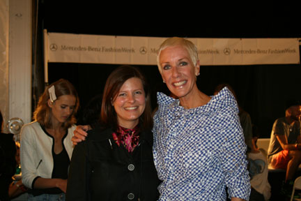 American Salon's Lotus Abrams and CND's Jan Arnold backstage at BCBG