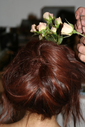 The hairstyles at Susan Cianciolo were adorned with fresh flowers.