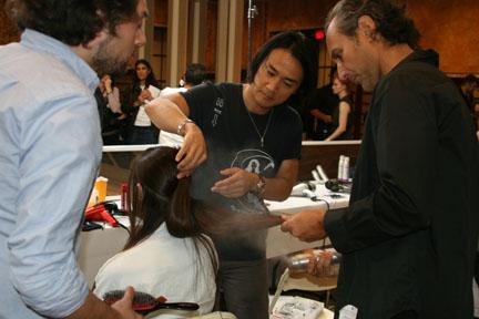 Lead stylist Bob Recine for Phyto backstage at Jill Stuart