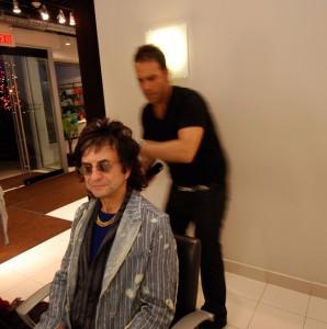 Ross Bartolomei styling rock legend Jim Peterik's rock star hair