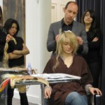 Craig Piatti demonstrating the Platinum Seamless attachment method at Eva Scrivo salon