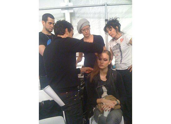 Orlando Pita for Moroccanoil working on a model