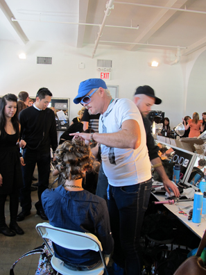 Lead stylist for Moroccanoil Danilo backstage at L.A.M.B.