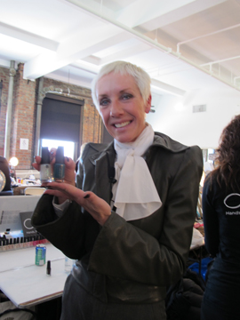 CND's Jan Arnold shows off two new nail colors for fall backstage at L.A.M.B.