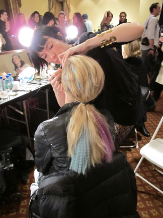The hair at Cynthia Rowley featured eye-catching pieces of jewel-toned, crimped extensions.