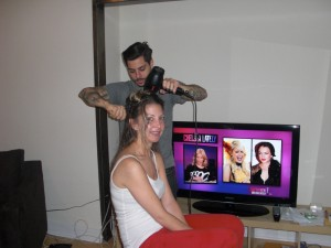 Michael Duenas giving Jess a great blow-out after cutting her hair in her apartment