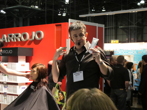 Nick Arrojo demonstrating his product line at the Arrojo booth