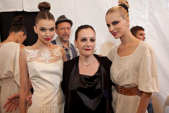 Models flank designer Sophie Theallet
