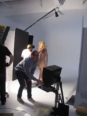 Makeup artist Scott McMahan and photographer Joshua Jordan on set