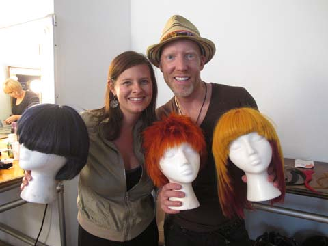 American Salon Executive Editor Lotus Abrams and Jason Backe with the wigs used for the edgy looks