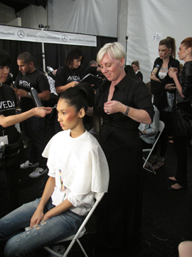 Antoinette Beeders, lead stylist for Aveda, backstage at Christian Siriano