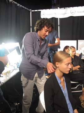 Orlando Pita for Moroccanoil backstage at Carolina Herrera