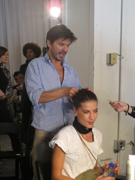 Guido, creative consultant for Redken, backstage at Reed Krakoff