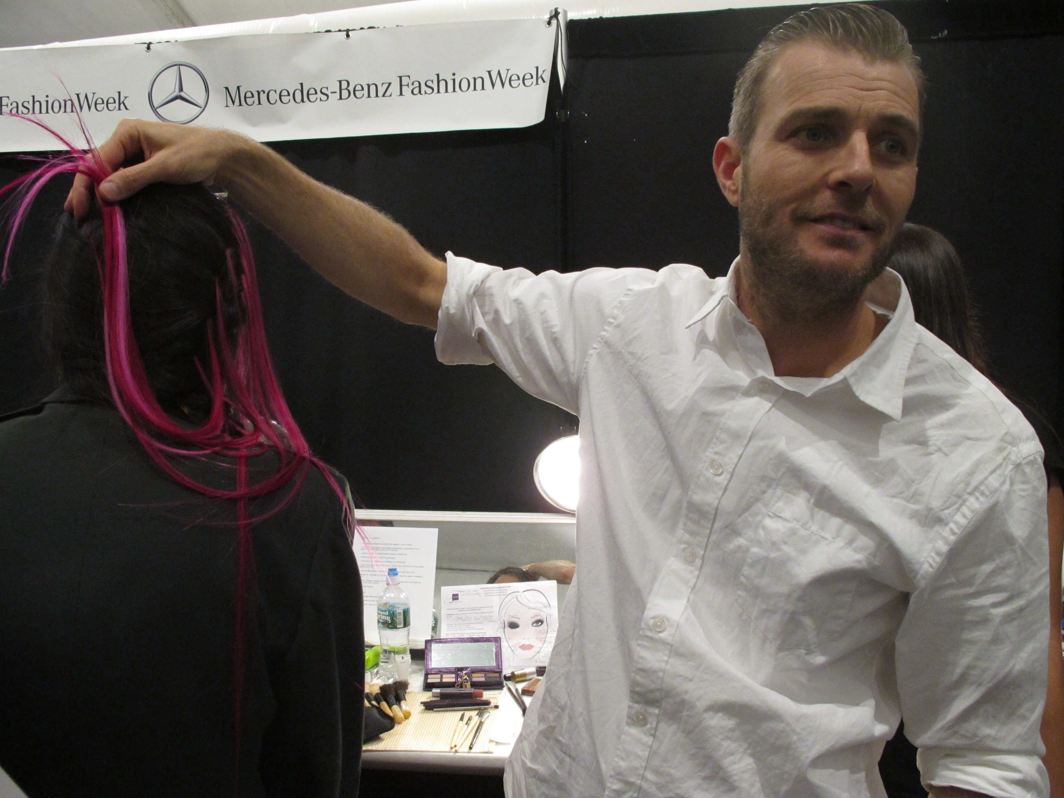 Brent Lawler, lead hairstylist for Phyto, backstage at Odd Molly