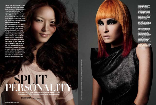 American Salon's October 2010 feature with Ted Gibson and Jason Backe for L'Oreal Professionnel INOA haircolor