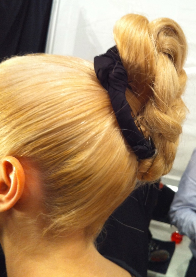 The strong braided chignon created by Antoinette Beenders for Aveda