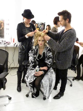 Homan and his assistant, Redken Artist Julie Hoffman, used ric-rack pin sets and various curling irons to create random texture.