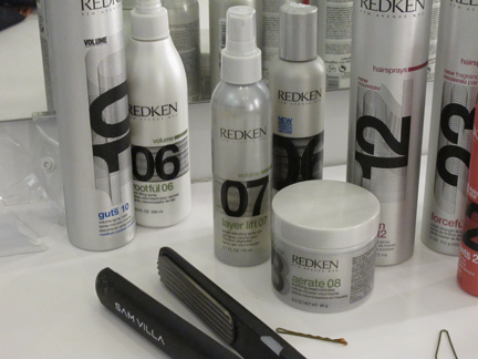 Redken Rootful 06, Layer Lift 07 and Aerate 08 were key to achieving the voluminous styles.