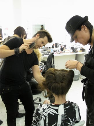 Homan and Hoffman put the finishing touches on Taylor's updo.
