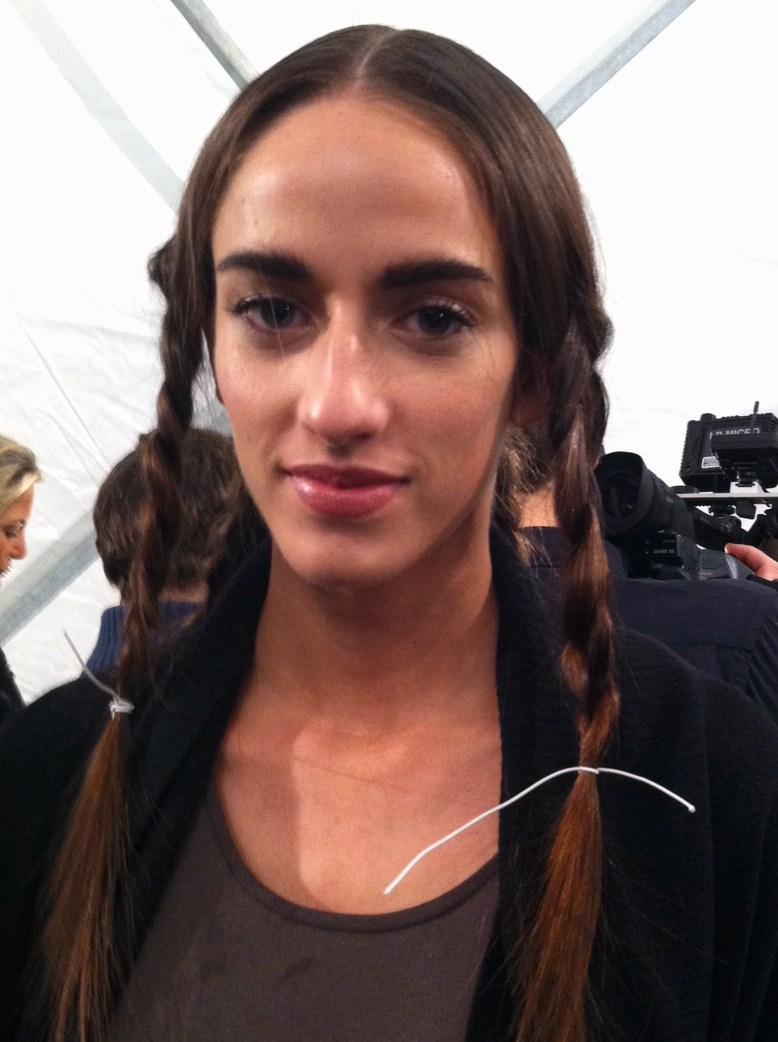 The simple makeup look. The hair was left in braids until just before showtime.