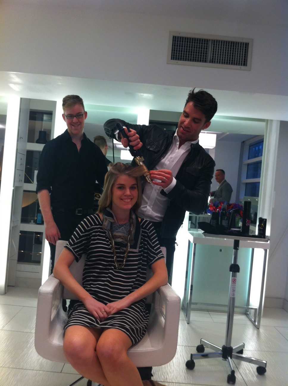 Carver used Thermo Glide for both the blowout and to set the curls and finished with Hard Lock Hairspray