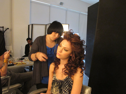 Josie Sanchez chose to do voluminous waves for this model's hair to show off her rich brunette color.