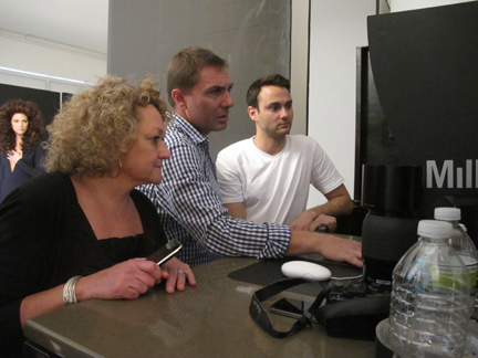 American Salon's Jeannie Oberholtzer, photographer Laurent Darmon and his assistant check out the shots.