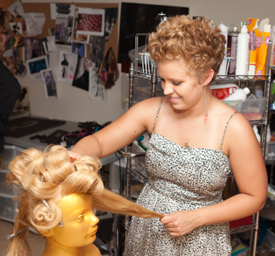Kayla working with her mannequin