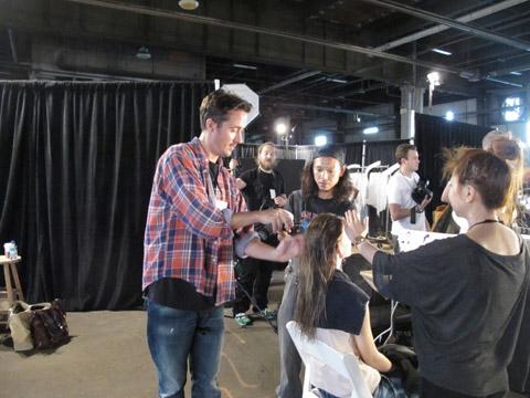 Paul Hanlon for TIGI backstage at Helmut Lang