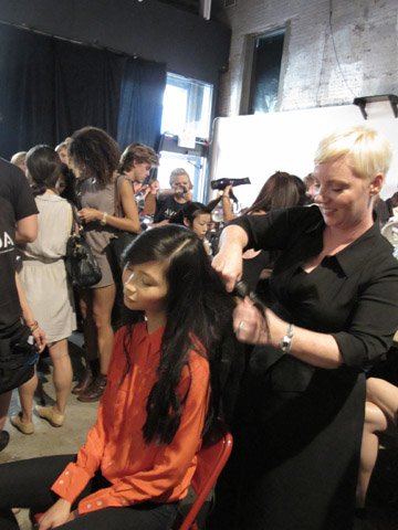 Aveda's Antoinette Beenders backstage at Christian Siriano