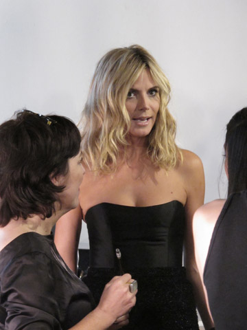 Heidi Klum backstage at Christian Siriano