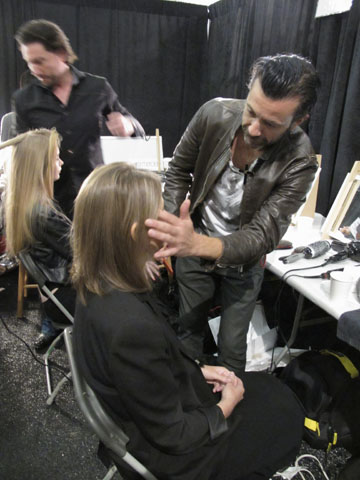 Leonardo Manetti backstage at Jenny Packham